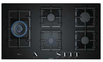 Display, 90cm, black tempered glass hob, 5 burner gas, front controls, flame select, cast iron trivets, flame failure, electronic ignition-5534