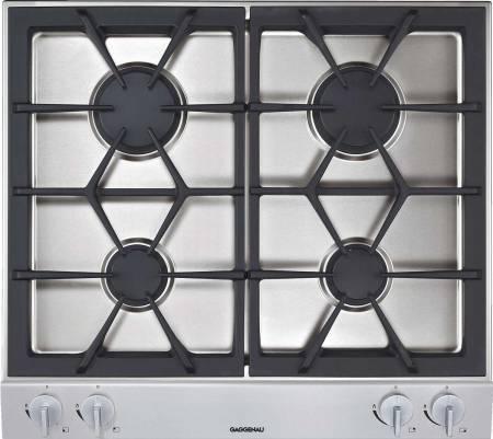 Display, 60cm 4 burner, aluminium control panel, 2 high output burners (560-2800W), 2 standard burners (380-1900W), electric ignition, cast iron trivets gas cooktop-0