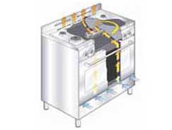 Carton damage, 60cm, 5 functions, 70L nett, S/S dual fuel gas oven-5690