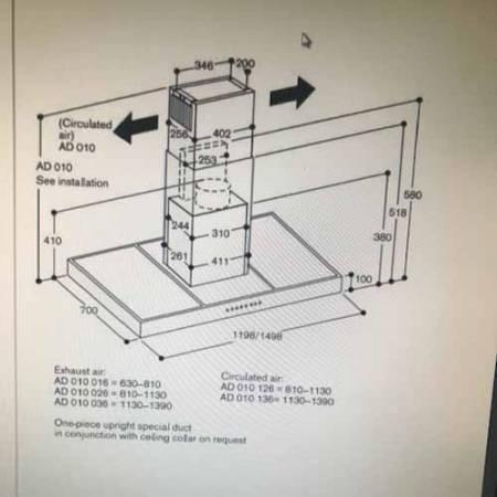 Gaggenau AD010 016 630mm-810mm flue extension