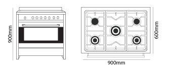Parmco AR-900-LEG-1 dimensions